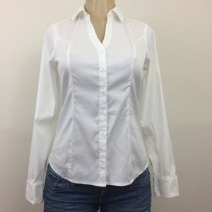 Express Tops - Express Shirt XS Stretch White Long Slav Button Up